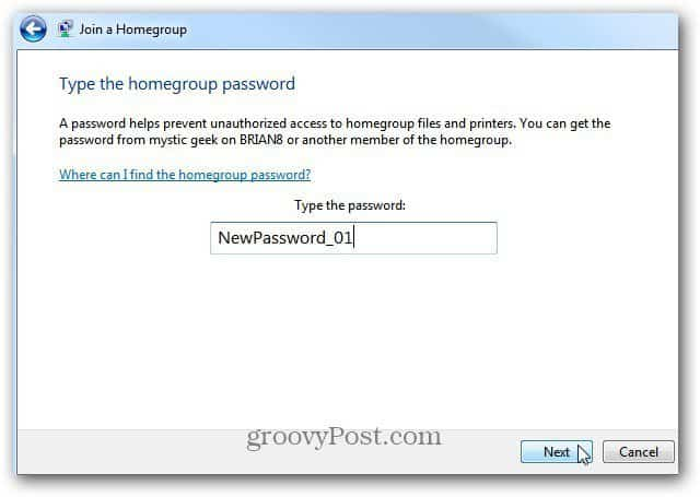 Enter homegroup password