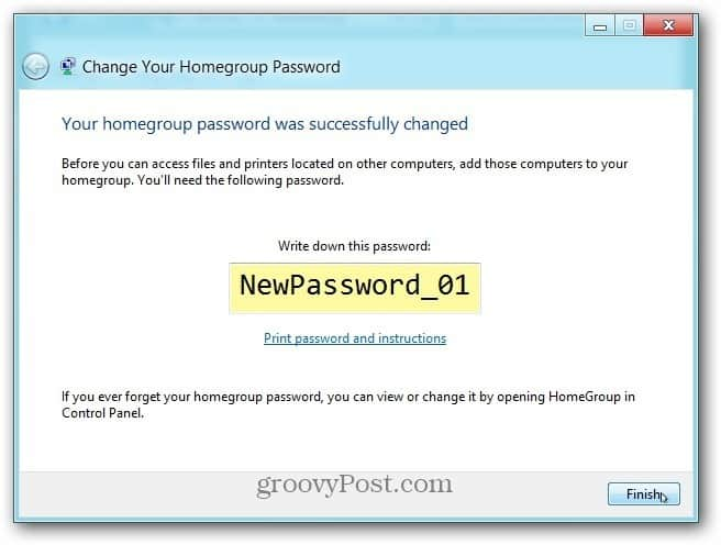 Finish Password successfully Changes