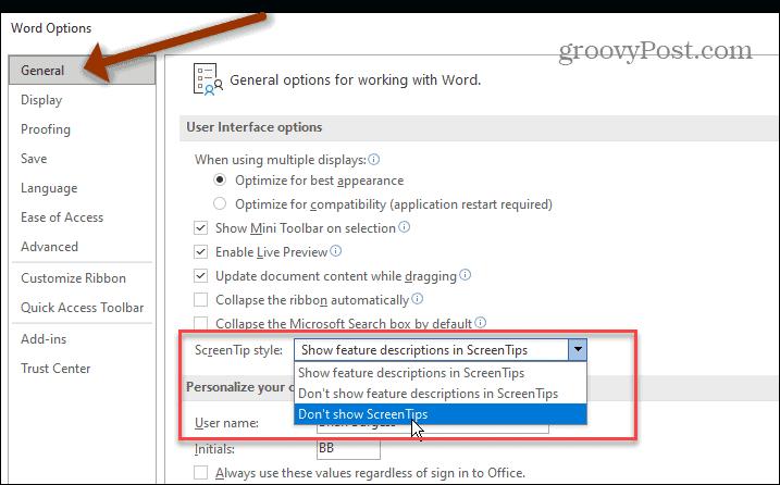 Microsoft Word User Interface Options