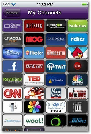 My Channels Roku iPod Remote