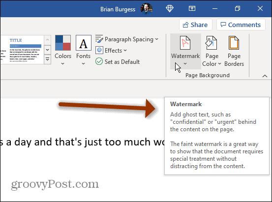 ScreenTips example Microsoft Word