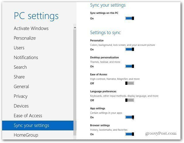 Toggle Sync Settings