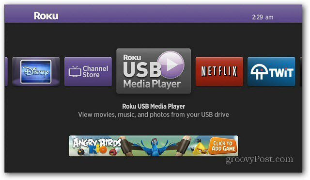 USB Media Player on main menu