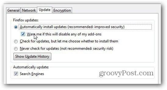automatically install updates firefox