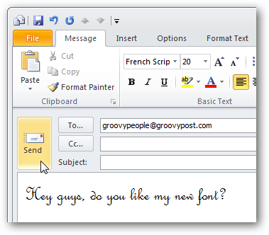 custom fonts in outlook 2010