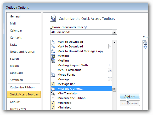 outlook options message options