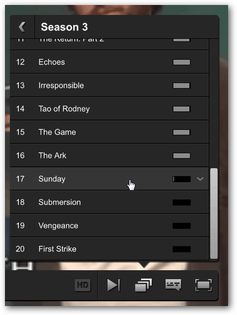 season and episodes list in netflix player
