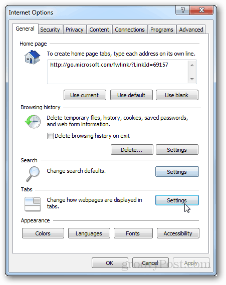 ie9 tabs settings