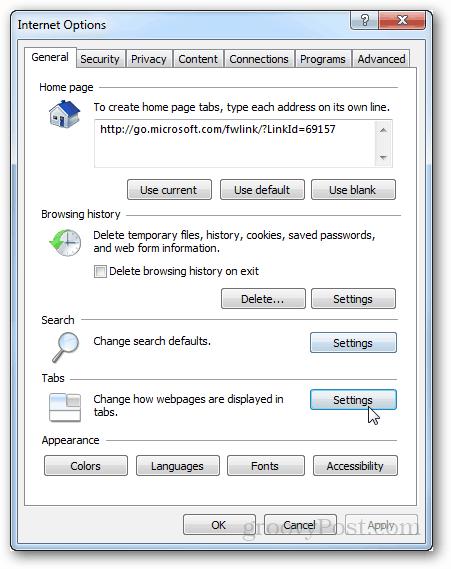 ie9 tabs settings