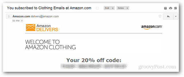 amazon coupon code for 20% off clothing in email