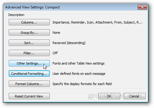other outlook settings