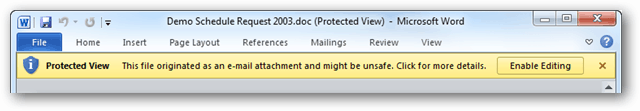 Microsoft Office Protected View