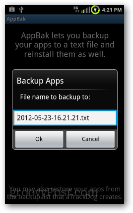 backup list of android apps
