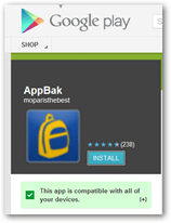 Grab appbak from the google play store