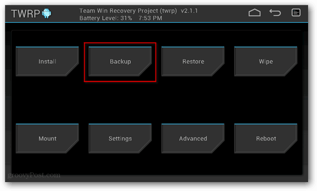 TWRP Backup creation