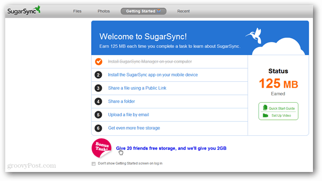 bonus task for free sugarsync space