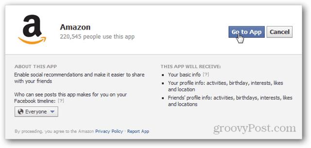 amazon facebook app permissions