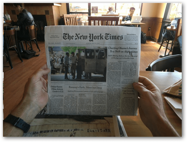 Project Glass newspaper reading