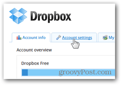 dropbox account settings tab