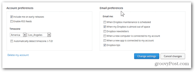 dropbox configure email preferences