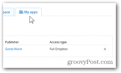 dropbox my apps tab