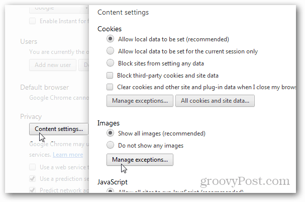 chrome privacy > content settings > images > manage exceptions