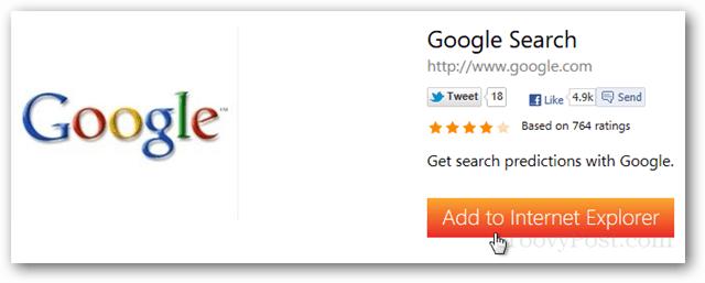 add google to internet explorer 10