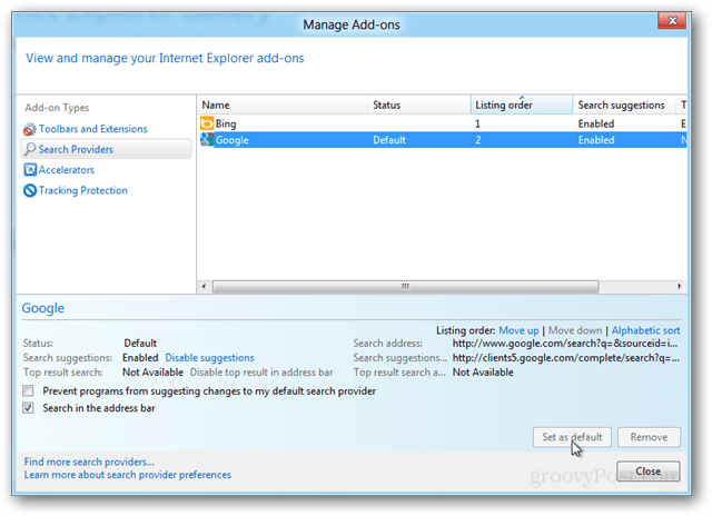 manage internet explorer 10 add-ons and search providers