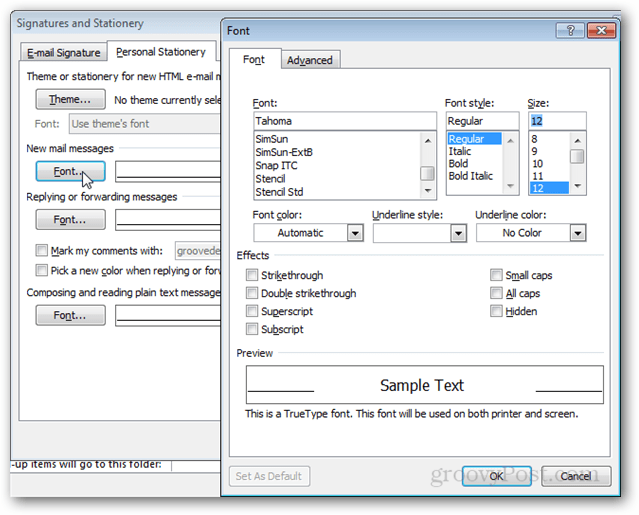 advanced signature and stationery options in outlook 2010
