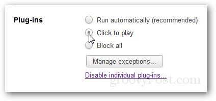 disable autoplay content and videos in chrome