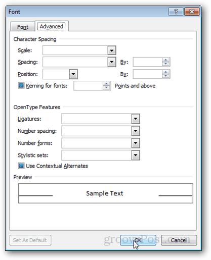 font > advanced tab