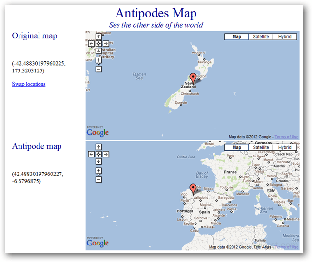 antipodes map of the earth