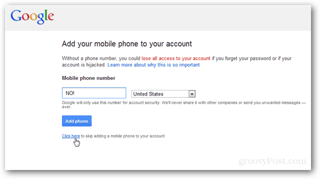 google requests number during login