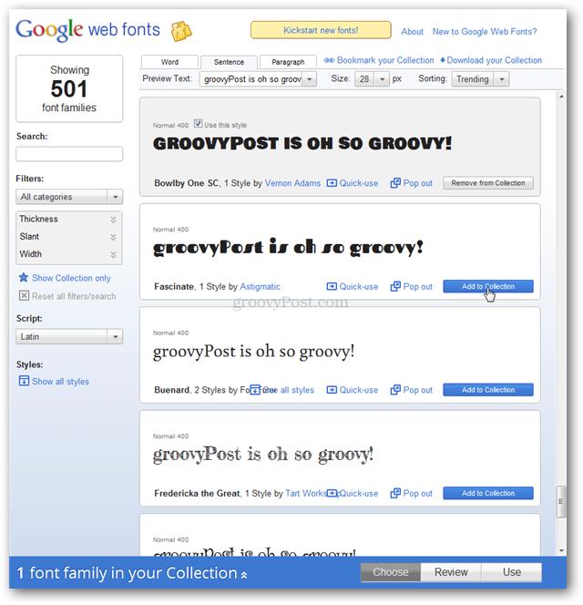 Google fonts directory