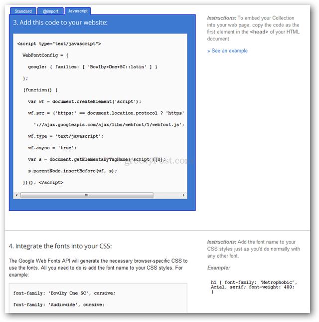 google web fonts embed code