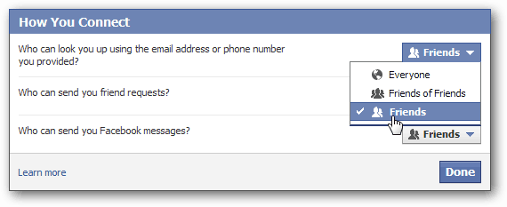 stranger contact settings on facebook