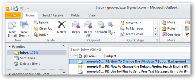outlook 2010 inbox view