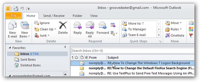 outlook 2010 inbox view