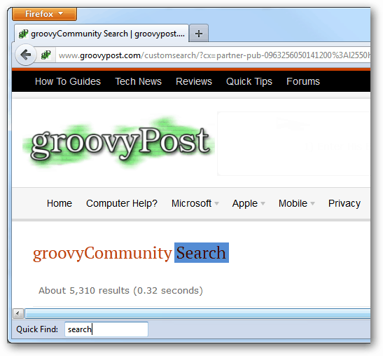searching a page with firefox