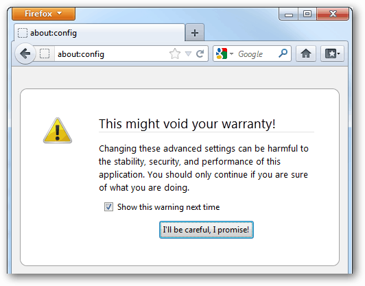 void firefox warranty