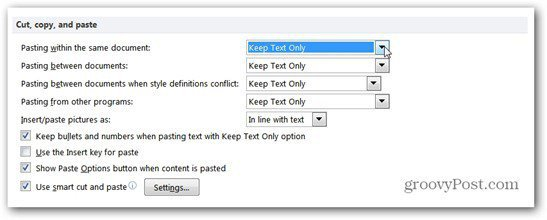 keep text only option paste word 2010