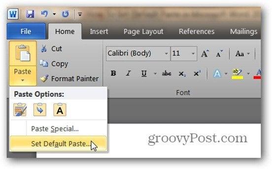 word 2010 default paste