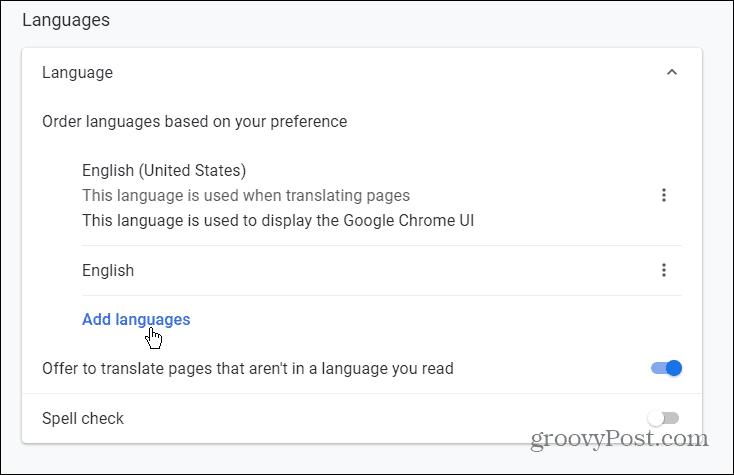 Add Languages Chrome