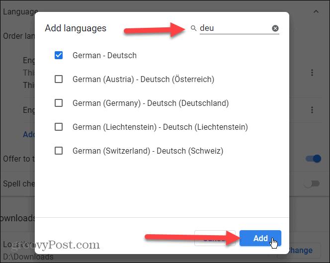 choose language to add to Chrome