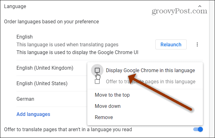 display Chrome in this language