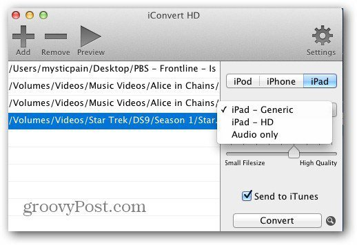 Conversion formats iConvert