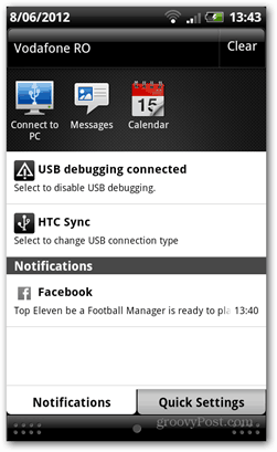 Facebook app center on mobile