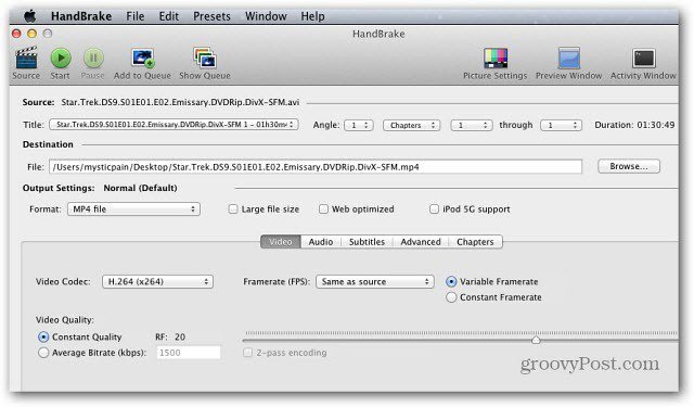 HandBrake for Mac OS X