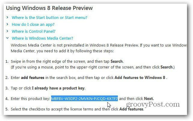 windows 8 product key to add features