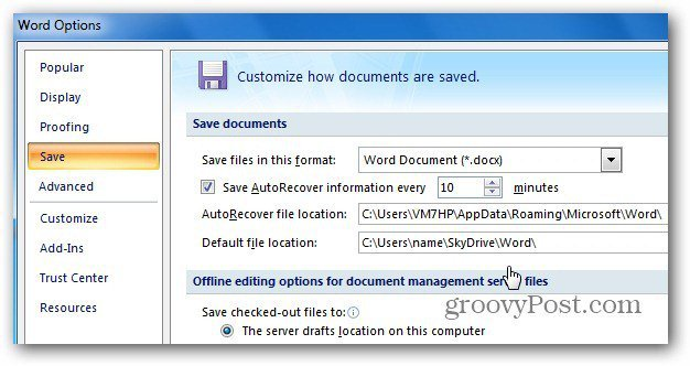 Office 2007 SkyDrive Save Location